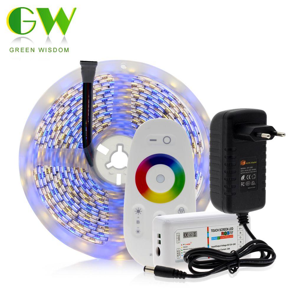 5050 RGB LED Strip 12V 5M 300LEDs RGB / RGBW /RGBWW Neon Strip + 2.4G Touch Remote Controller +12V 3A Power Supply