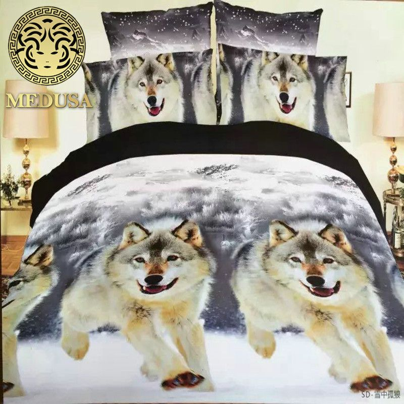 Medusa 3d <font><b>wolf</b></font> king/queen/twin size 3/4pcs bedding set of duvet/doona cover bed sheet pillow cases bed linen set