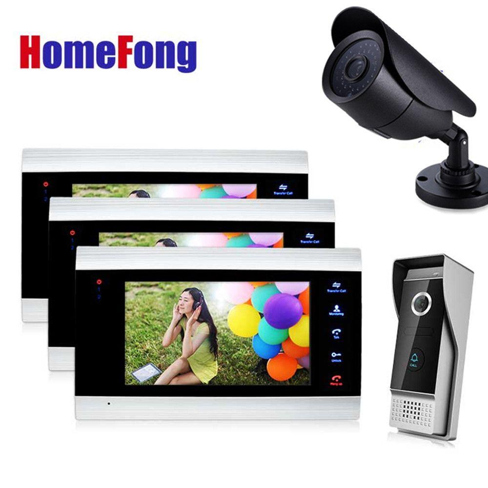 Homefong 7 Inch Video Door Phone Intercom System 3 monitors 1 doorbell and 1 Camera