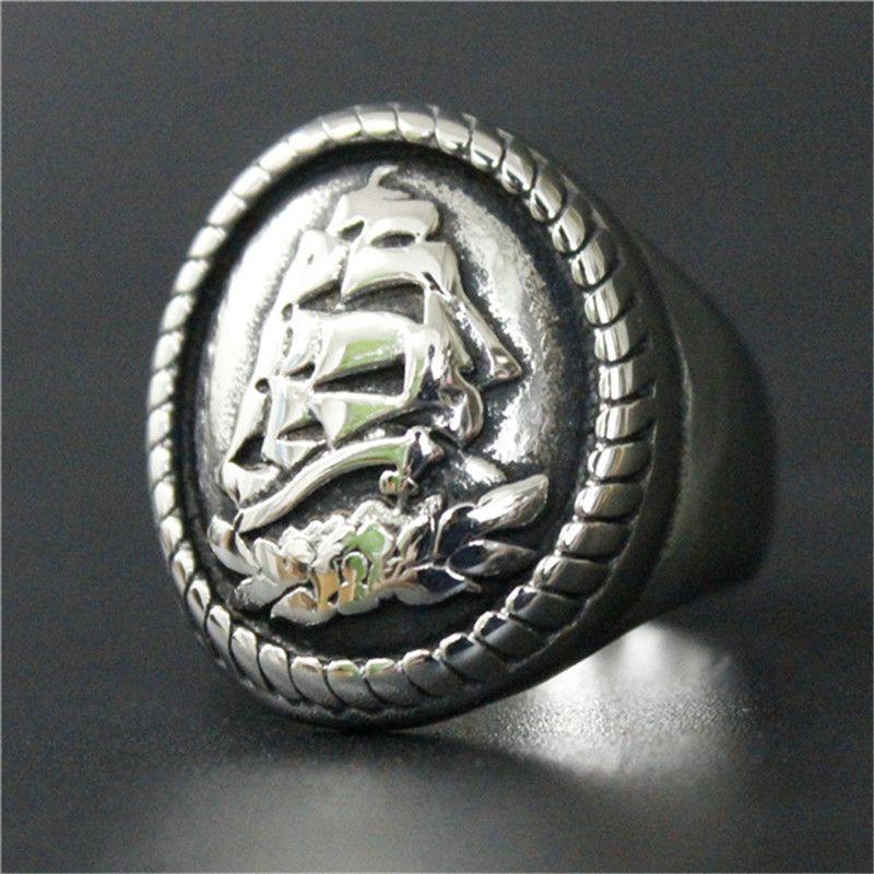 1 pc taille 8-13 nouveauté voile Cool anneau 316L acier inoxydable Punk bijoux hommes garçons anneau