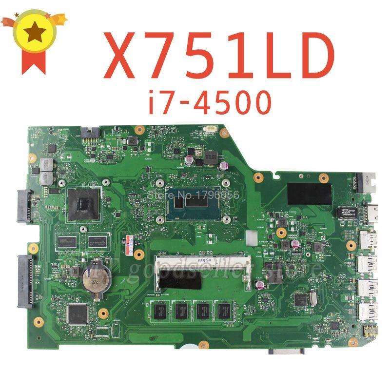 For ASUS R752L R752LD R752LN X751L X751LD X751LDV X751LN K751LN Motherboard Processor i7-4500 GT820 2G REV2.0 Mainboard tested
