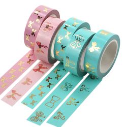 1X Foil Washi Tape 15mm*10m Pink Tulip Bow Tie Scrapbooking Tools Cute Adhesiva Decorativa Japanese Stationery Washi Tapes