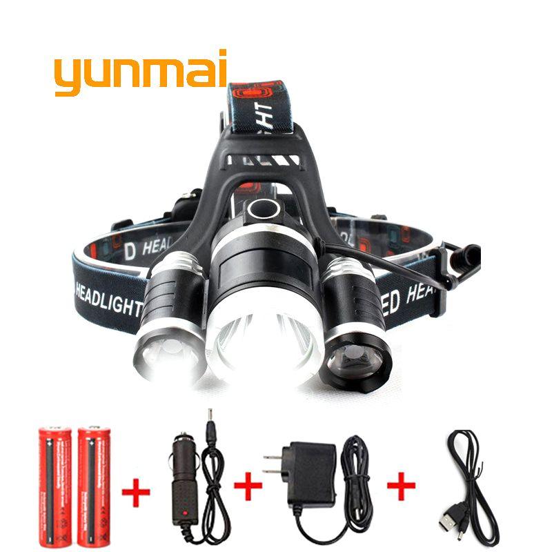 USB Power Led Headlight Headlamp 10000 <font><b>lumen</b></font> 3*Cree xml t6 Rechargeable Head Lamp Torch 18650 Battery Hunting Fishing Light