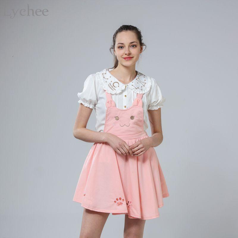 Japanese Lolita Summer Autumn Women Suspender Skirt Cat Embroidery Hollow Out Princess Kawaii Sleeveless Skirt Suspender Skirt