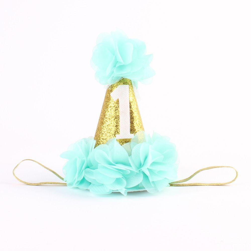 Primero Cumpleaños de la Corona de La Venda de La Muchacha Accesorios para el Cabello de aplastar la torta del oro del sombrero de cumpleaños sombrero con flor de la gasa de 1 UNID