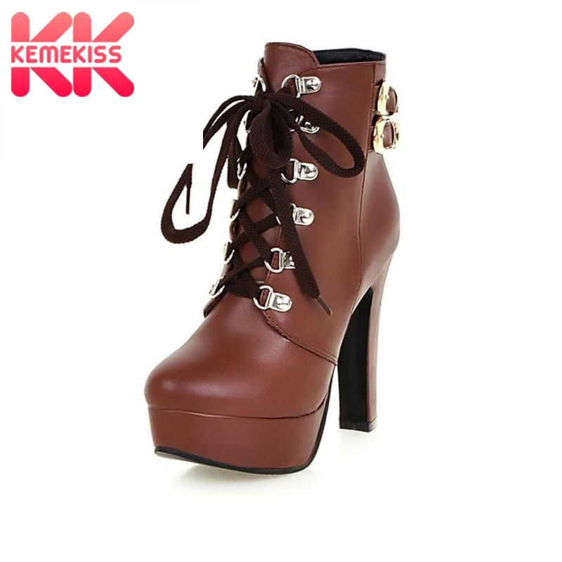 KemeKiss Winter Women Round Toe Ankle Boots High Heels Lace Up Shoes Double Buckle Platform Short Martin Booties Size 33-43