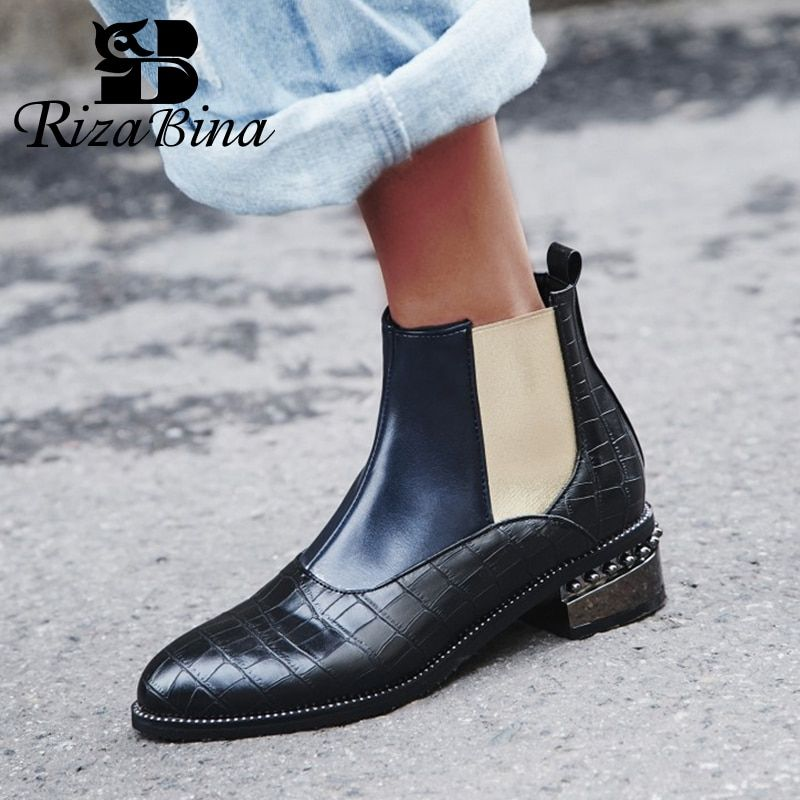 RIZABINA Size 32-48 Woman Boots Fur Winter Warm Ankle Chelsea Boots Woman Shoes Mixed Color Beads Short Boots Ladies Footwear