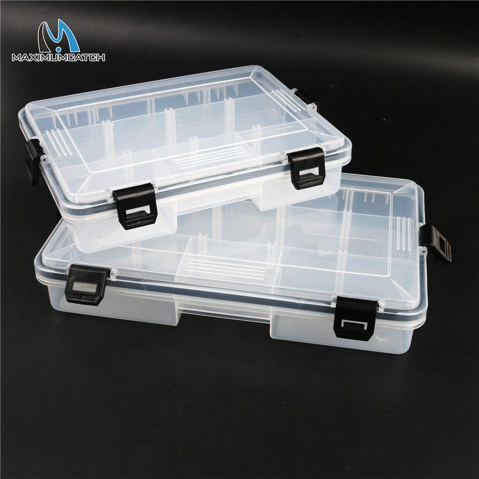 Maximumcatch Brand 22*16.5*5cm/28*18*5cm Transparent Plastic 5-11 Compartments Fly Fishing Box Fishing Tackle Box