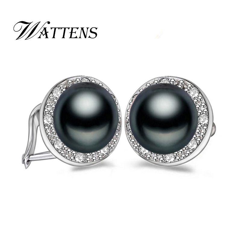 WATTENS 100% Genuino Natural de La Perla stud pendientes, Joyería de perlas con hebilla de mariposa, pendientes para las mujeres, NUEVA Moda