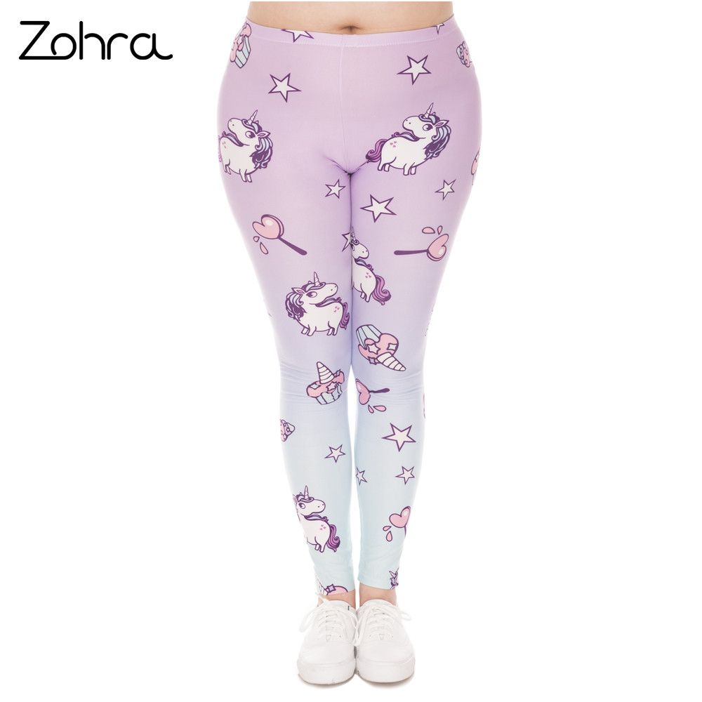 Zohra Hot Sales Large Size Leggings Unicorn Printed High Waist Leggins Plus Size Trousers Stretch Pants For Plump Women