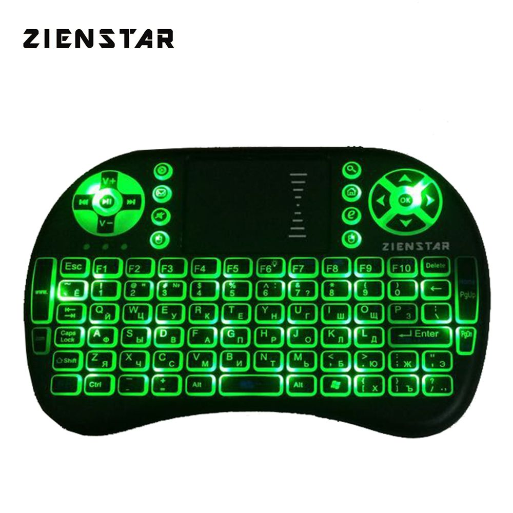 Zienstar Russia Mini 2.4G Wireless Keyboard with 3 Color Backlit Air FLY Mouse Remote Control Touchpad For TV Box Smart TV