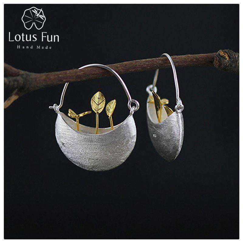 Lotus Plaisir Réel 925 Sterling Argent Naturel Creative Main Fine Jewelry Mon Petit Jardin de Baisse Boucles D'oreilles pour les Femmes Brincos