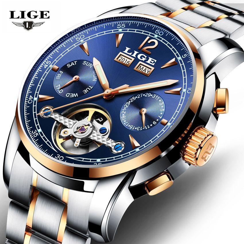 Relojes LIGE Masculino mecánico Automático Sport Reloj de Los Hombres Casual Marca Relojes de Lujo de Los Hombres Reloj de pulsera de Reloj del relogio masculino