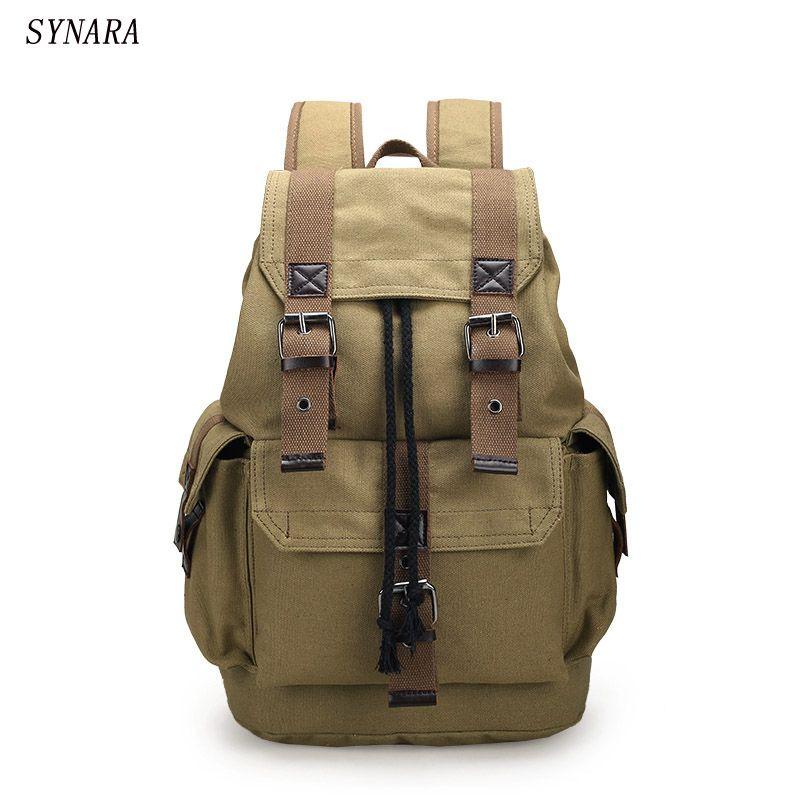 New fashion men's backpack vintage canvas backpack school bag men's travel bags large capacity travel backpack bag 3 colors