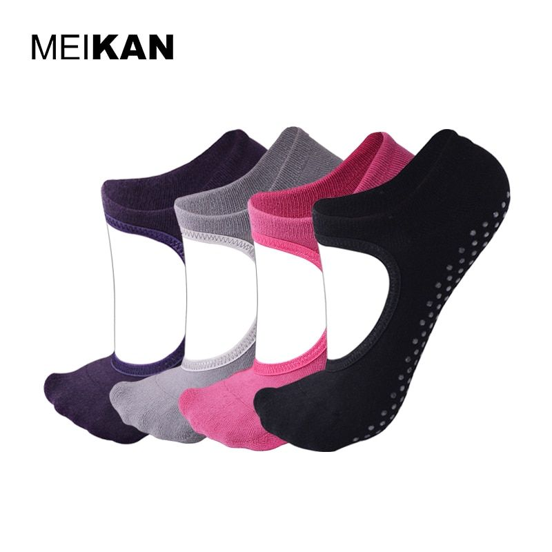 Calcetines de Yoga de Las Mujeres Backless 4 Pares de la Porción de Algodón Terry antideslizante MEIKAN Pilates Calcetines Al Por Mayor Marca de Silicona Invisible Calcetines