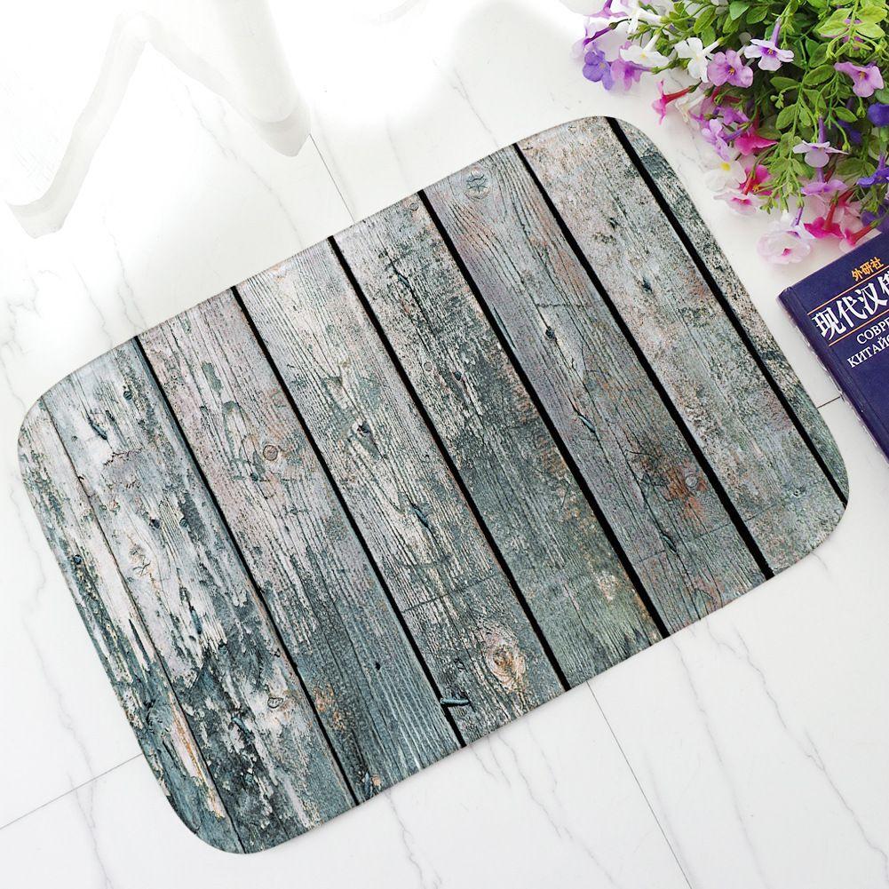 Honlaker Retro Wood Series Decorative Doormat Thick Flannel Absorbent Anti-slip Bath Mat Entrance Door Mat Dust Floor Mat