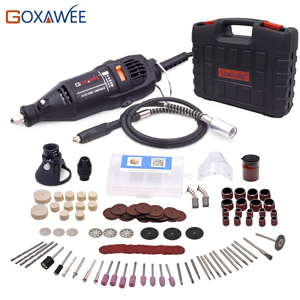 GOXAWEE 220V Power Tools <font><b>Electric</b></font> Mini Drill with 0.3-3.2mm Univrersal Chuck & Shiled Rotary Tools For Dremel Drill 3000 4000