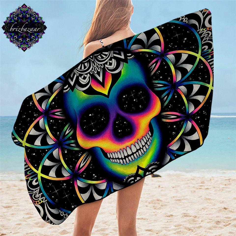 Chaos By Brizbazaar Bath Towel Bathroom Colorful Skull Microfiber Beach Towel for Adults Galaxy Mandala Shower Towel Gothic Mat