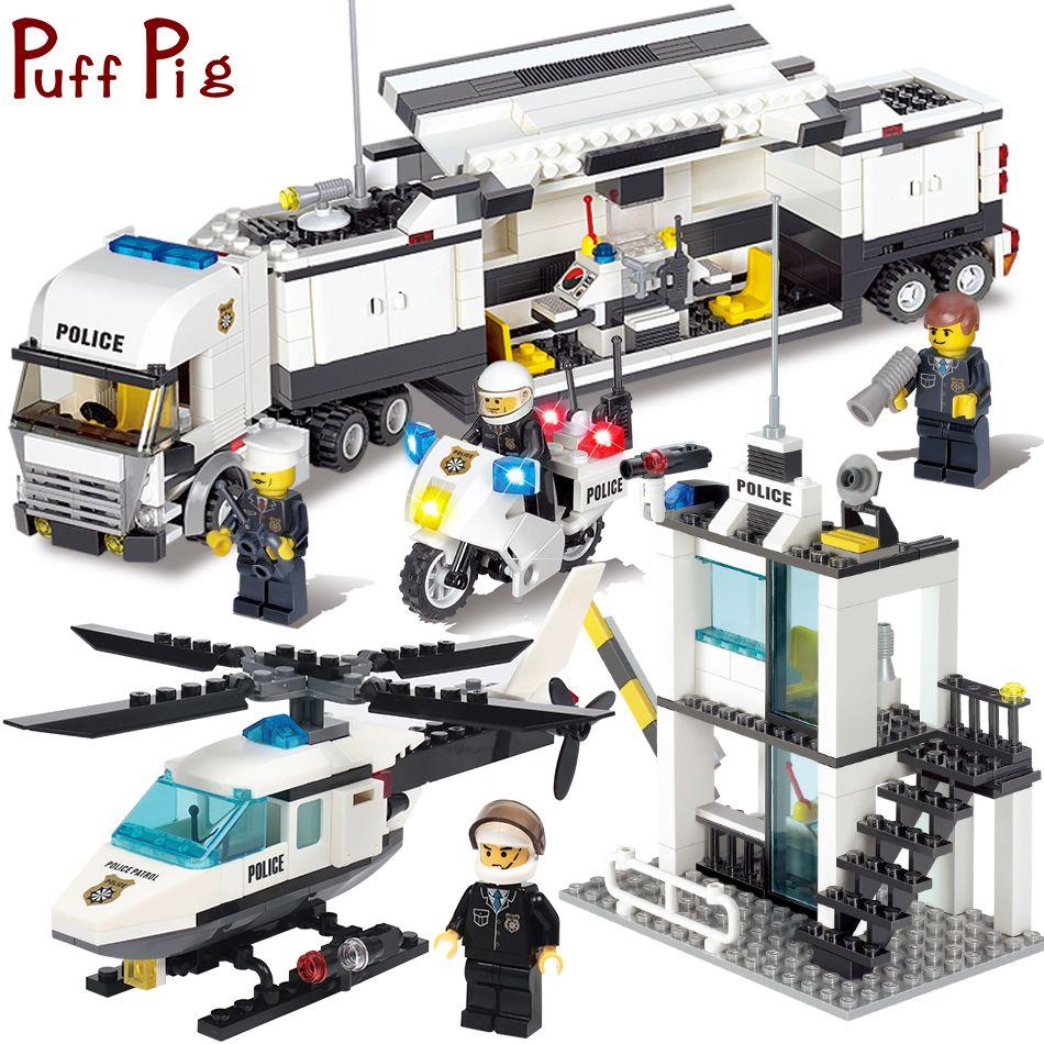 Police Station Trucks helicopter Building Blocks Set Compatible Legoingly City Figures DIY Construction Bricks Toys for children