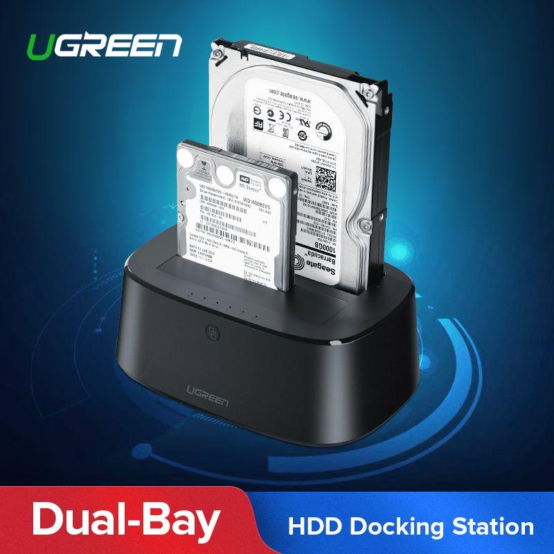 Ugreen HDD Docking Station SATA to USB 3.0 Adapter for 2.5 3.5 SSD Disk Case HD Box Dock Hard Drive Enclosure Docking Station