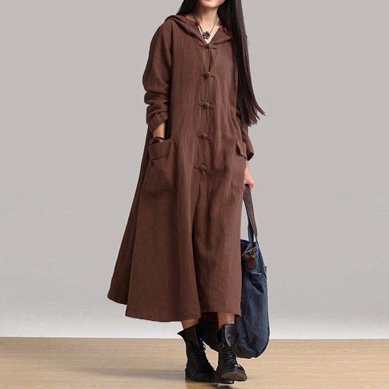 Zanzea Otoño Invierno mujer vestido nuevo 2018 vintage casual flojo Maxi vestido largo señoras V Masajeadores de cuello manga larga con capucha de algodón vestidos