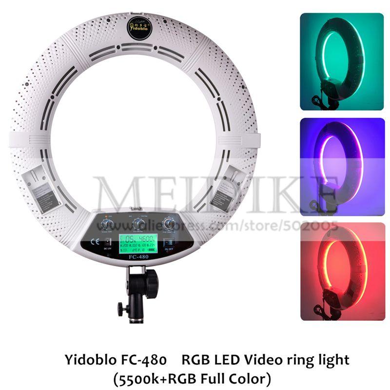 Yidoblo FC-480 Einstellen Mode RGB LED Ring Licht 480 LED Video Make-Up Lampe Fotografie Studio broadcast Licht + 2 M stand + tasche