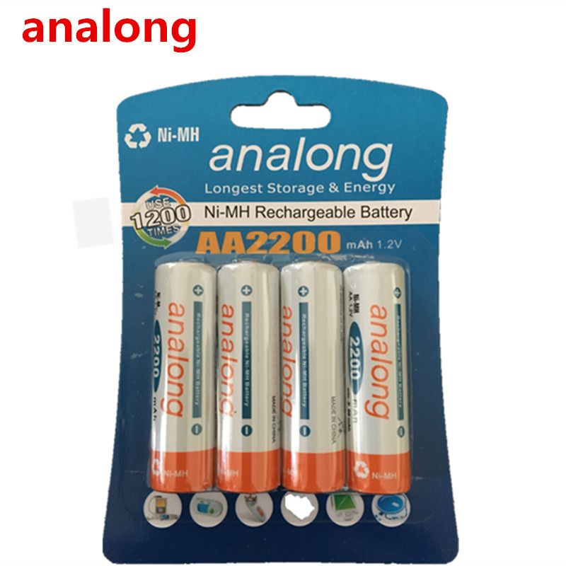 Analong 2a AA rechargeable batterie 1.2 V AA2200mAh Ni-MH Pré-chargé la Batterie Rechargeable 2A Baterias pour Caméra