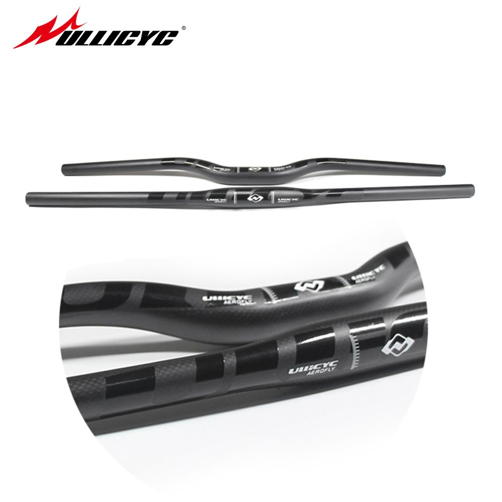 Ullicyc Full Carbon Matt Black +Glossy Decals Mountain/MTB Handlebar 3K Matt Carbon Flat/Rise 600mm-740mm CB186