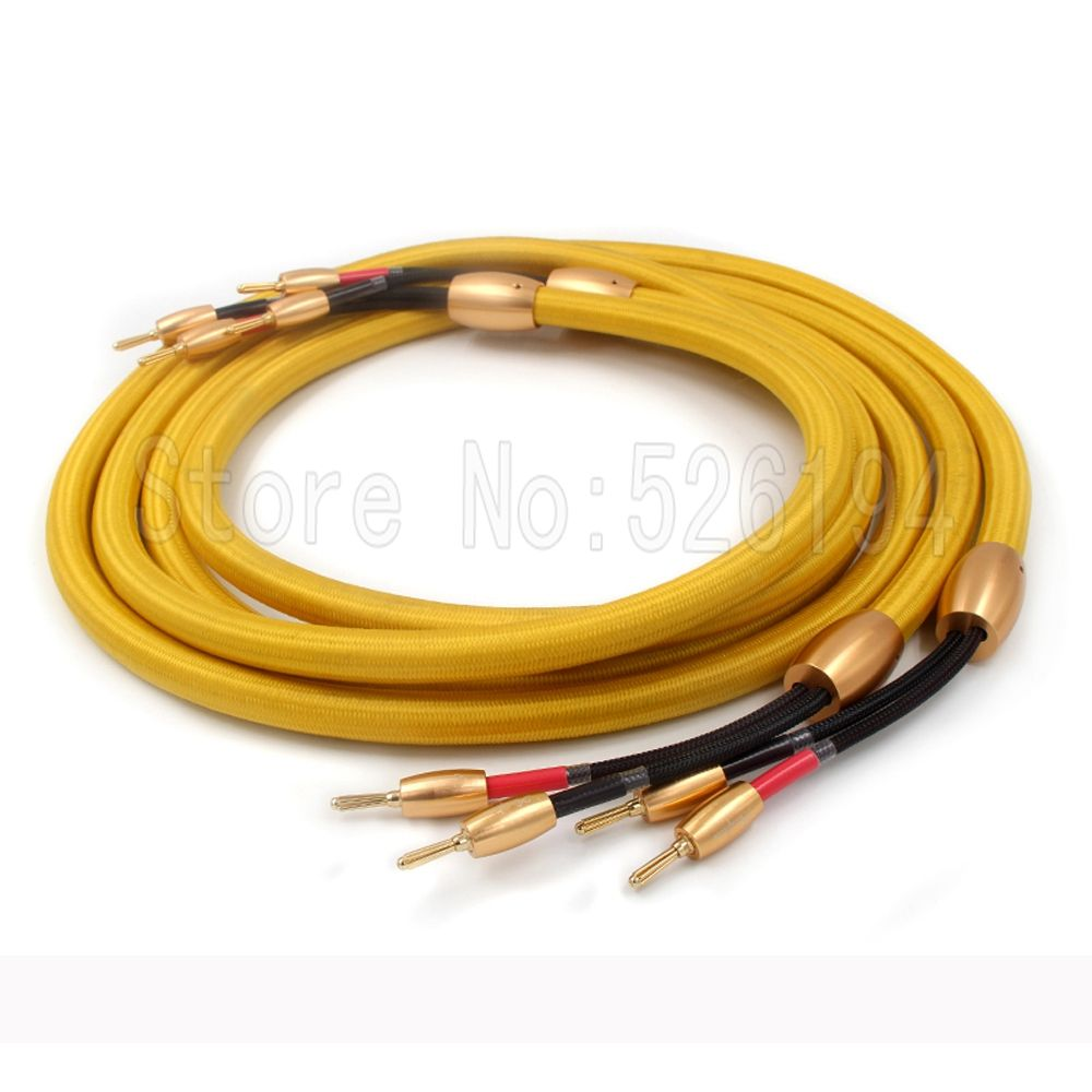 Free shipping 3M/pair Accuphase audio speaker cable hifi loudspeaker cable with 24k Gold plated banana plug
