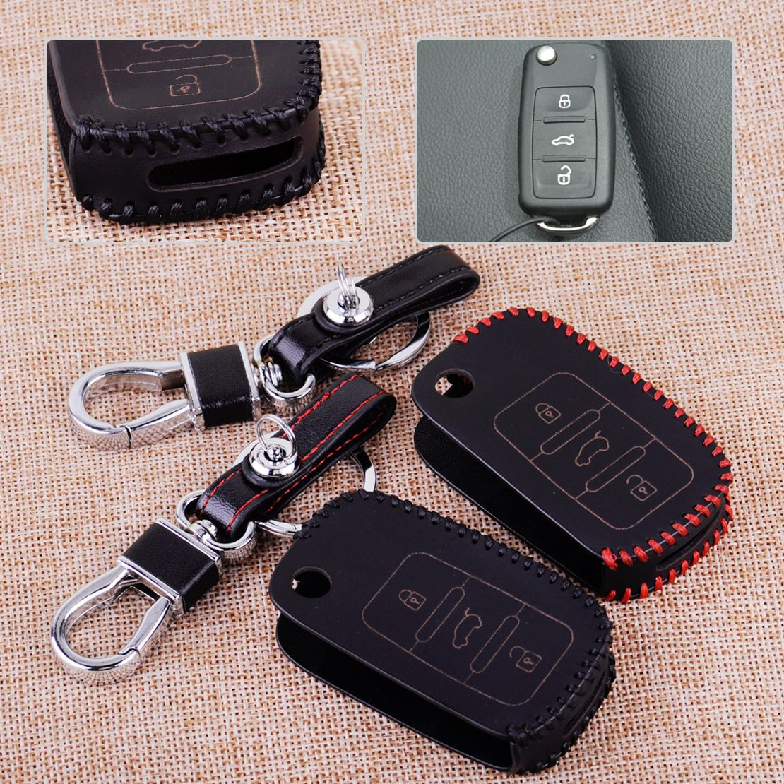 CITALL 3 Buttons PU Leather Car Remote Key Case Cover Keychain Fit for VW Golf Jetta Passat Polo Bora Touareg Sagitar