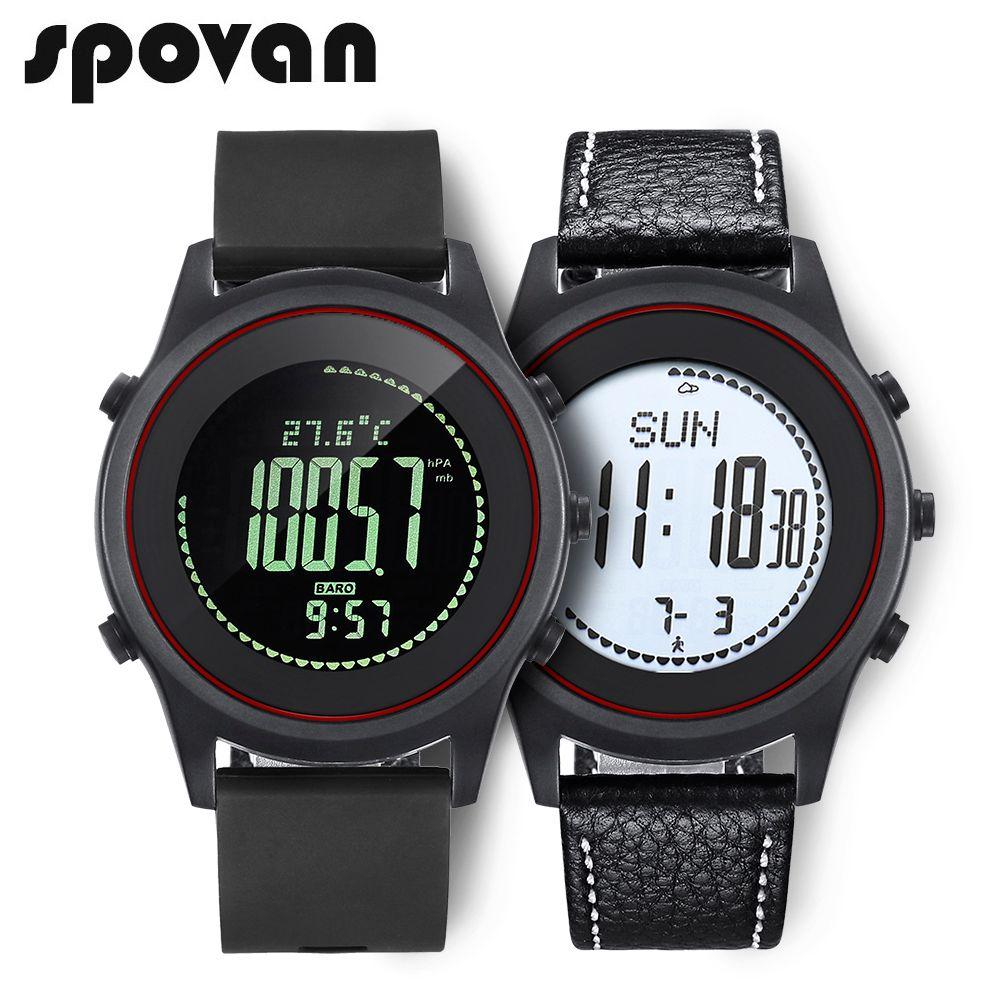 SPOVAN Beyond Sport Men's Watch, Thinnest Wrist Watch. Genuine Leather / Silica gel Watchband. Barometer Thermometer <font><b>Altimeter</b></font>