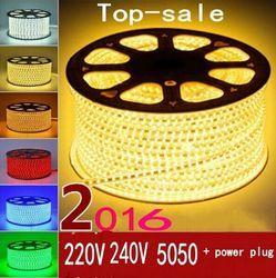 220 V 240 V SMD 5050 led bande flexible lumière 5 m 10 m 15 m 20 m 100 m blanc chaud/blanc/RGB plug Power 60 led/m imperméable à l'eau led bandes