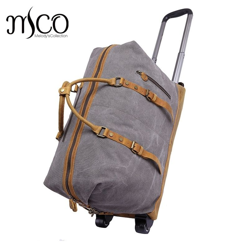 Canvas Leather Men Travel Carry on Luggage Bags Men Duffel Bag Travel Tote Large capacity Weekend Bag Overnight