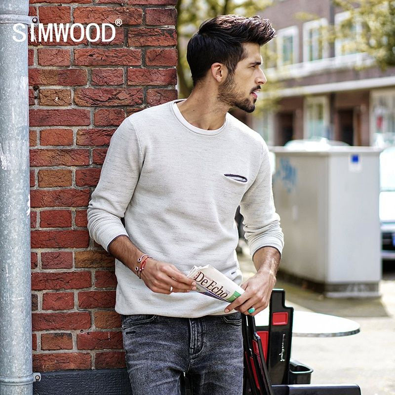 SIMWOOD 2018 autumn  New Sweater Men Pullover Knitted Snowflake Sweater Male Casual Fashion High Quality Plus Size MT017018