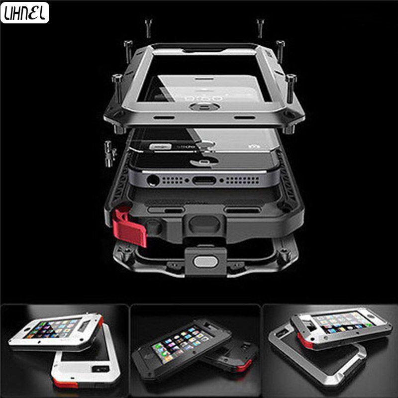 Heavy Duty 1:1 Doom Armure Dirt Forte Étanche LIHNEL Métal En Aluminium téléphone cas Pour iphone 4 4S 5 5S 5c 6 6 S 4.7 ''6 Plus