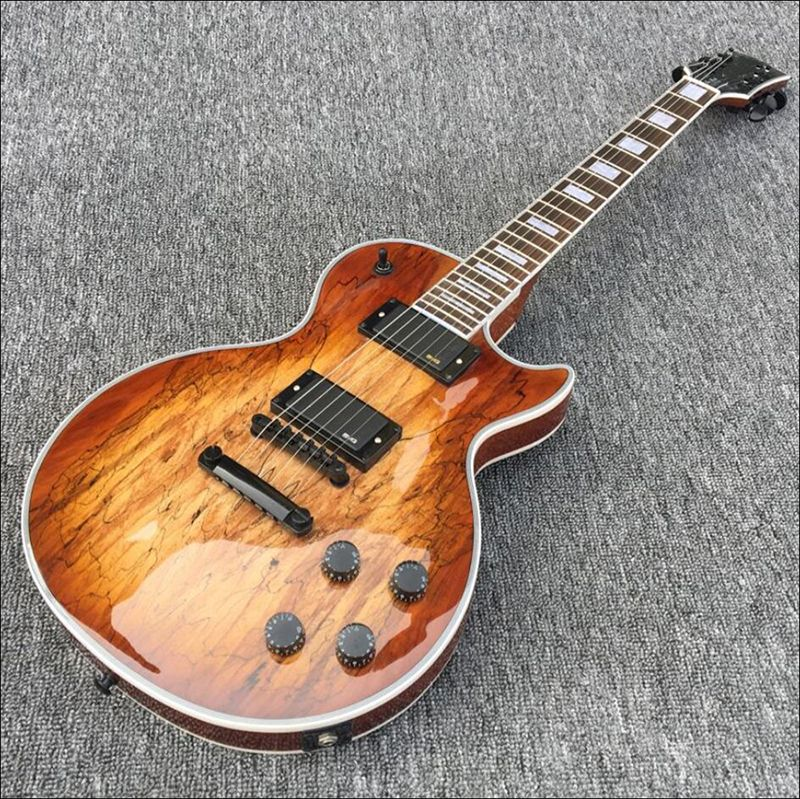 in stock! Custom Electric guitar Hot Sale LP Map transparent brown Paul Custom Electric Guitar,Black hardware,free shipping!