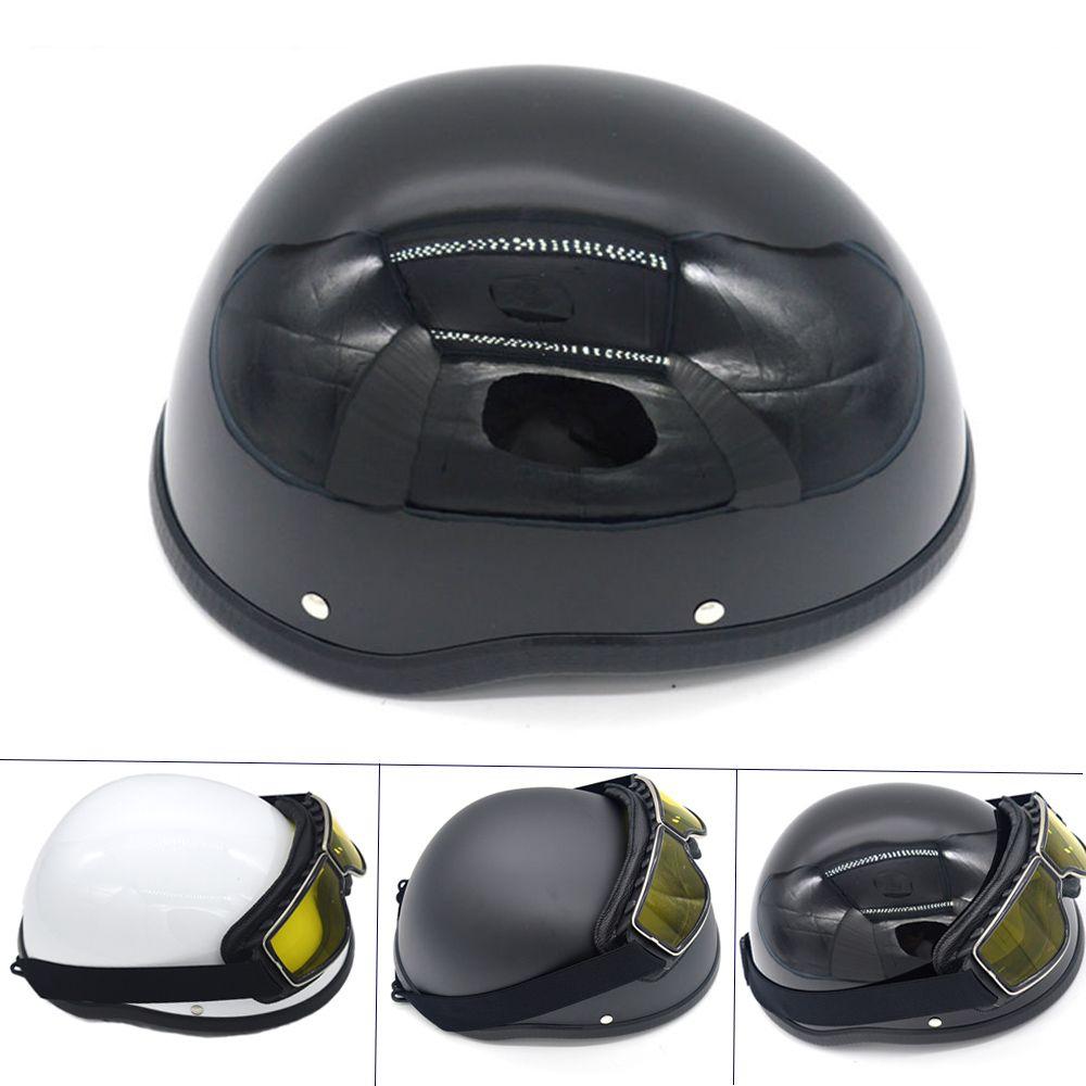 Casque de moto WWII pour Harley vintage casque demi-visage rétro allemand Chopper Cruiser noir mat casques cascos para