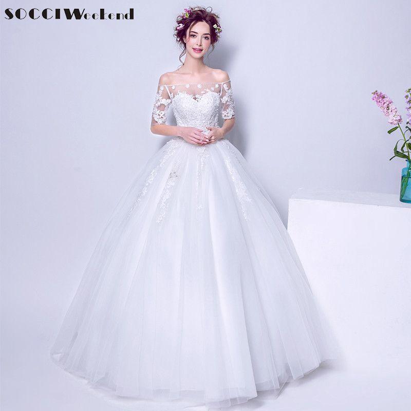 SOCCI 2017 Wedding Dresses Princess Formal Bridal Dress Elegant Lace flowers Pearls Beading Party Ball Gown vestido de noiva