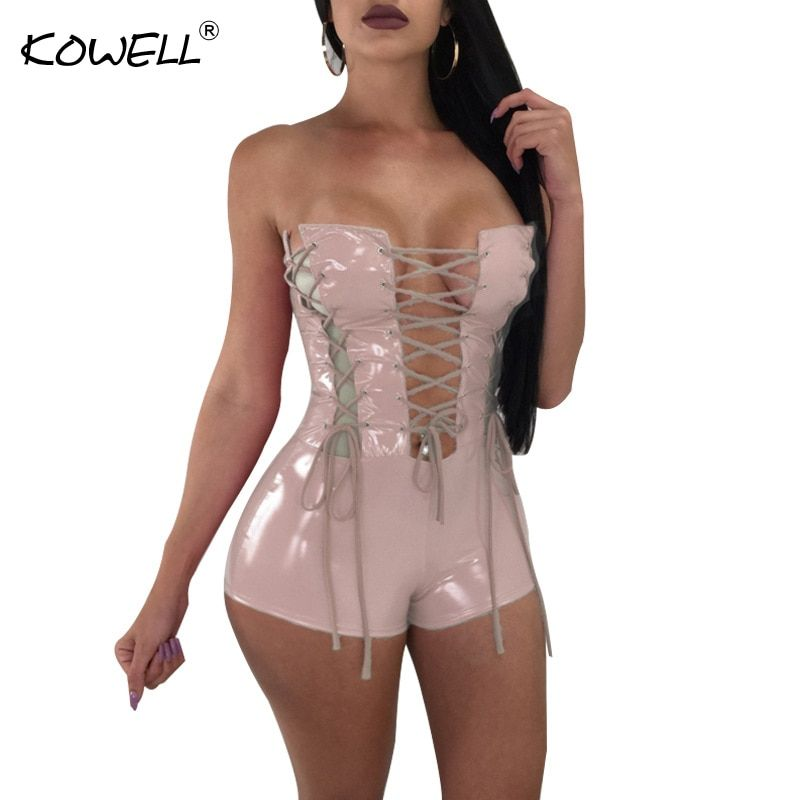 Kowell Sexy Bandage Bodycon Rompers Womens Jumpsuit Summer Off Shoulder Hollow Out Backless Sexy Bodysuit Women Party Overalls