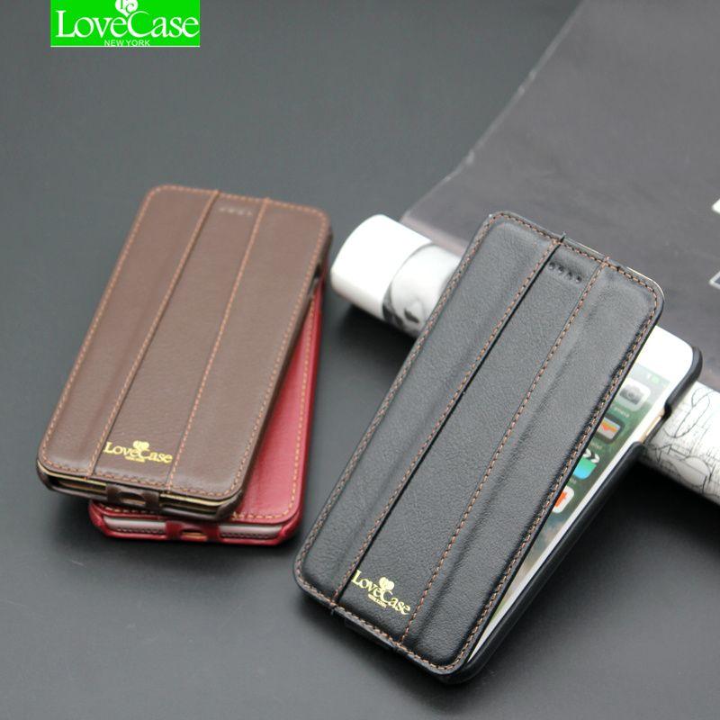 7 Plus Top qualité Marque Flip Véritable Étui En Cuir Pour iPhone 7 8 Plus De Luxe Téléphone Couverture Arrière Cas + LOGO En Métal 4.7