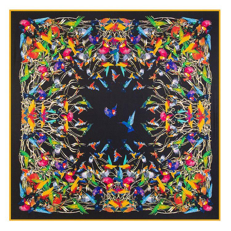 POBING 130*130 cm Luxe Marque 100% Sergé Foulard Femme En Soie Foulards Carrés oiseau rendant hommage au phoenix foulard en soie & Wraps Hijab