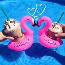 1Pcs Mini Cute Flamingo Floating Inflatable Drink Coke Can Holder For Pool Bath Kid Toy Gifts Swimming Accessories Drop Shipping