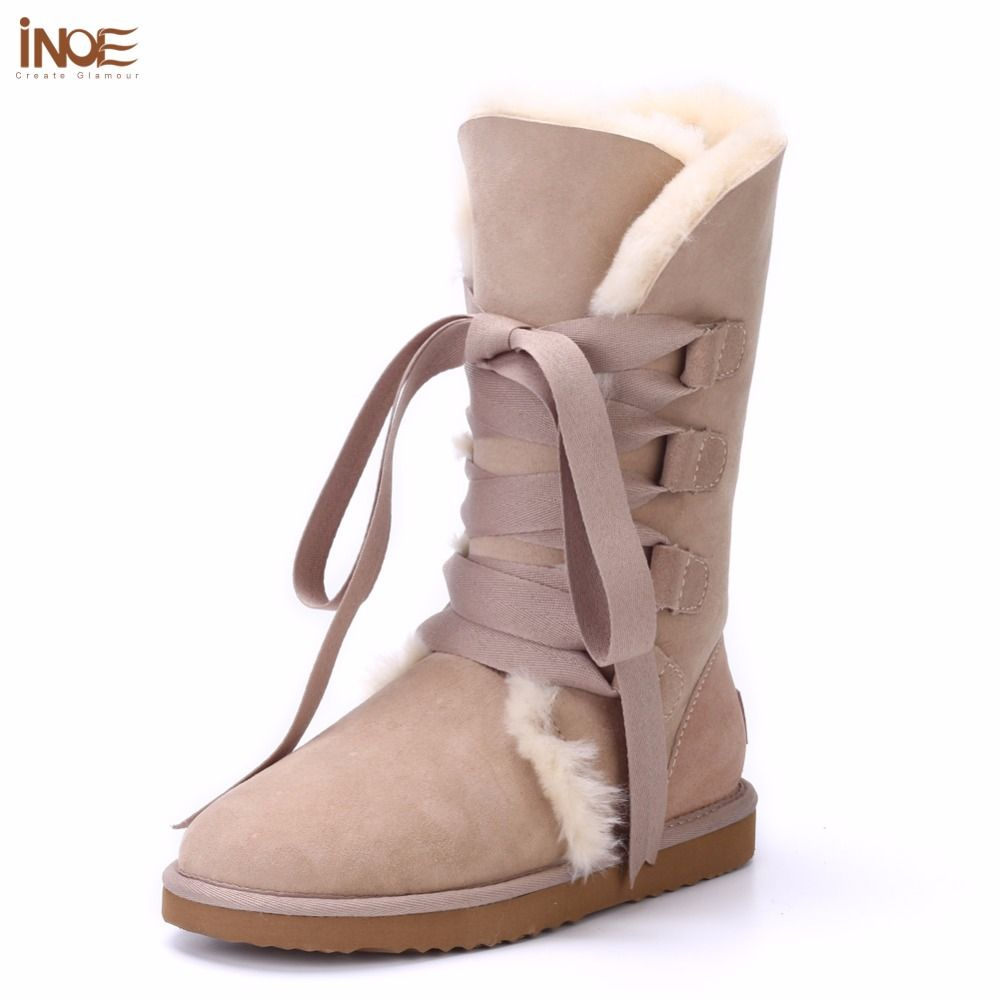 INOE fashion women lace up high winter snow boots real sheepskin leather fur lined winter flats shoes bow-knot non-slip sole red
