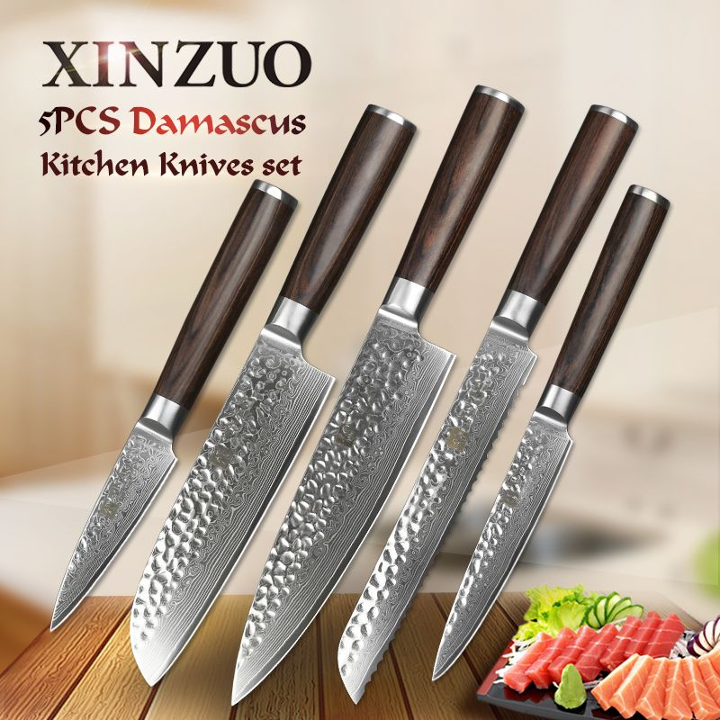 XINZUO 5 pcs chef knife sets 67 layers Japanese VG10 Damascus steel kitchen knife chef cleaver bread utility knife super sharp