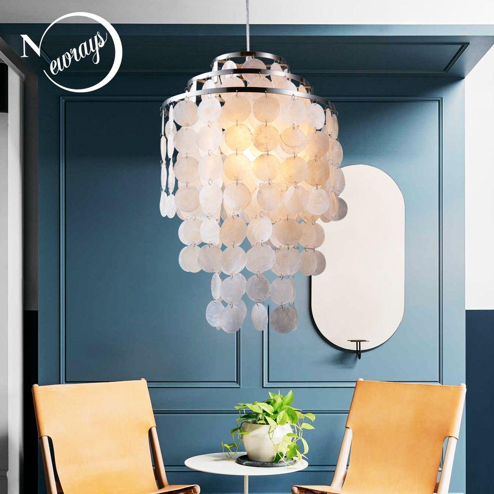 Moderne nordique blanc coquillage naturel suspendus suspension luminaire E27 LED lumières pour maison déco chambre salon restaurant
