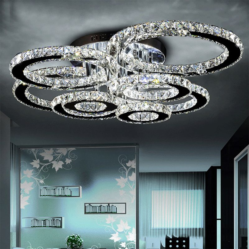 Modern led crystal chandelier light Round Circle Flush Mounted Chandeliers lamp living room Lustres for Bedroom Dining room