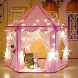 Little J Gadis Putri Merah Muda Castle Tenda Portabel Anak-anak Taman Lipat Bermain Tenda Lodge Anak-anak Bola Renang Playhouse