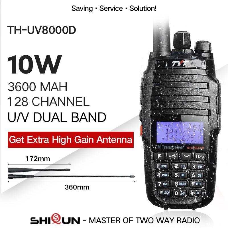 TYT TH-UV8000D Walkie Talkie 10 KM Dual Band VHF UHF 10W Radio Comunicador 10 km 3600mAh Cross-band Repeater Function tyt radio