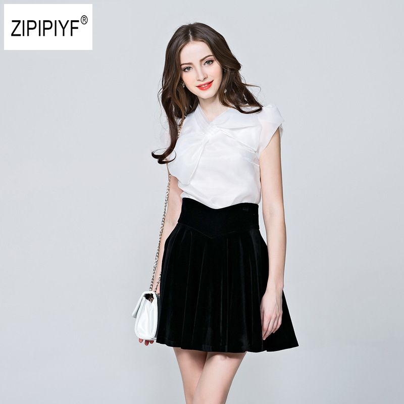 2018 New summer elegant organza bow White Black blouse casual shirt women Short Sleeve blouses Slim tops blusas femininas B1086