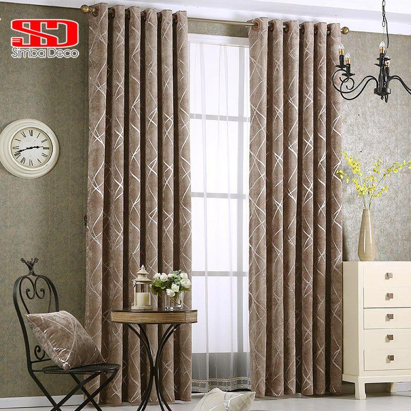 Rideaux géométriques modernes de tissu de luxe de rideaux gris de Chenille pour le traitement de fenêtre de tentes de lignes d'argent de chambre à coucher